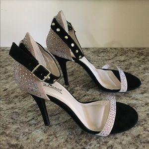🔥Anne Michelle sandal black cream and rhinestones